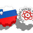 Slovenia national flag and atom energy symbol on gears — Stock Photo #47927909