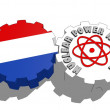 Netherlands national flag and atom energy symbol on gears — Stock Photo #47927949