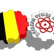 Belgium national flag and atom energy symbol on gears — Stock Photo #47927979
