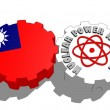 Taiwan national flag and atom energy symbol on gears — Stock Photo #47934655