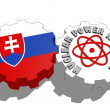 Slovakia national flag and atom energy symbol on gears — Stock Photo #47934753
