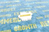 Business tags on water surface — Stock Photo