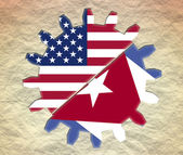 Usa and cuba politic relative placard — Stock Photo