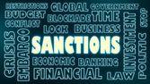 Sanctions neon text — Stock Photo