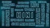H1n1 neon shine text — Stock Photo