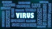 Virus neon shine text — Stock Photo