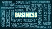 Business neon shine word and relative text — Stock Photo