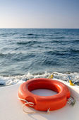 Life buoy on the sailing boat — Stock Photo