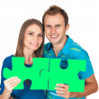 Couple matching to each other concept with puzzle — Stock Photo