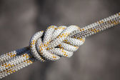Safety knot, white rope — Stock Photo