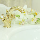 Bathroom Interior - sink and faucet closeup, background — 图库照片