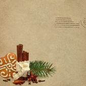 Christmas retro background with anise star, cinnamon and xmas tr — Stockfoto