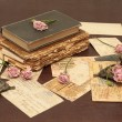 Vintage background with books, candles — Stock Photo #1901652