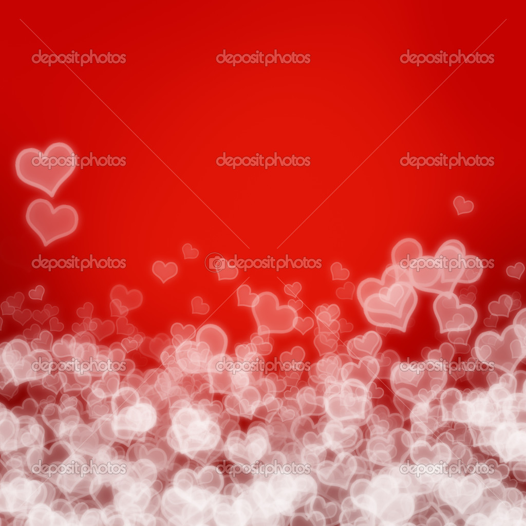 Valentine's day border - red background with hearts — Stock Photo #19041965