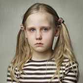 Child with tears - young girl crying — Photo