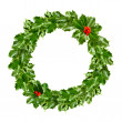 Christmas wreath of holly - green leaf isolated — Stock Photo