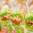 Appetizers, gourmet food - vegetable salad and prosciutto, cater — Stock Photo