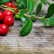 Fresh Cowberries with some leaves on wooden background — Stock Photo