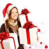 Christmas, happy woman with gifts — Stock Photo