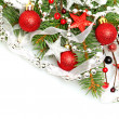 Christmas background with Xmas tree, silver star, red decoration — Stock Photo