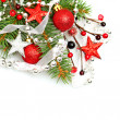 Christmas background with red Xmas decoration on white — Stock Photo
