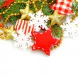 Christmas background with green fir, red star, gold decorations — Stock Photo