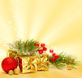 Christmas background and decorations, stars, green fir twig and — Stock Photo