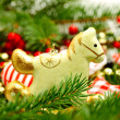 Vintage Christmas decoration, retro horse on New Year background — Stock Photo