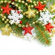 Christmas shiny stars and snowflake on white background — Stok fotoğraf