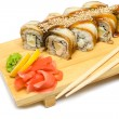 Eel sushi rolls, japanese gourmet food — Stock Photo