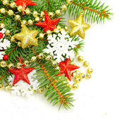 Christmas fir tree twig on decorations background — Stockfoto