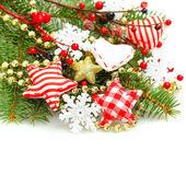 Renkli Noel süsleri Whi izole sınır arka plan — Stok fotoğraf