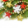 Christmas decor border closeup on white background — Stock Photo