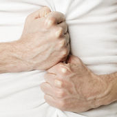 Man holding his stomach in pain or indigestion — Stock Photo