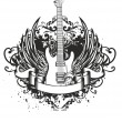 Stock Vector: Guitar with wings, patterns