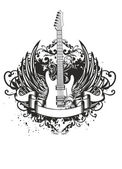 Guitar with wings, patterns — Stock Vector
