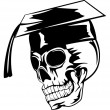 Skull in graduation cap — Stock Vector