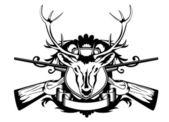 Head artiodactyl and crossed guns — Stock Vector