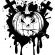 Halloween pumpkin with knife — Stock Vector