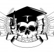 Skull in graduation cap and scrolls — Stock Vector