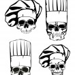 Stock Vector: Skull in toque set