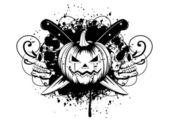 Halloween pumpkin with skulls — Stock Vector