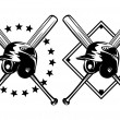 Baseball helmet and crossed bats — Image vectorielle