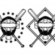 Постер, плакат: Baseball mask and crossed bats