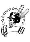 Kafatası beyzbol kask içinde — Stok Vektör