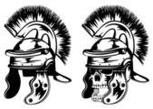 Skull in legionary helmet — Stock Vector