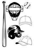 Casco, bate, tapa, pelota, conjunto de máscara — Vector de stock