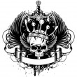 Skull with crown, wings and sword - Imagen vectorial