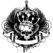 Skull with crown, wings and sword - Image vectorielle
