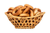 Basket with dry bread-ring — Stock fotografie